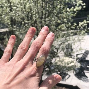Jewelry - Golden Rutilated Quartz Sterling Silver Ring 6.5